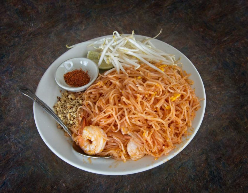 national noodle dish of thailand, served with bean shoots and dry spices