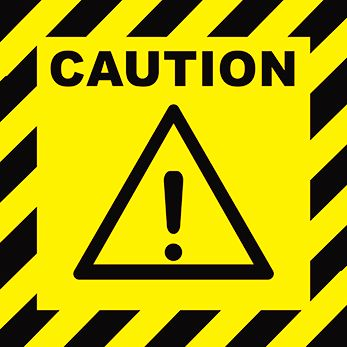 Warning caution sign - yellow with black text and graphic